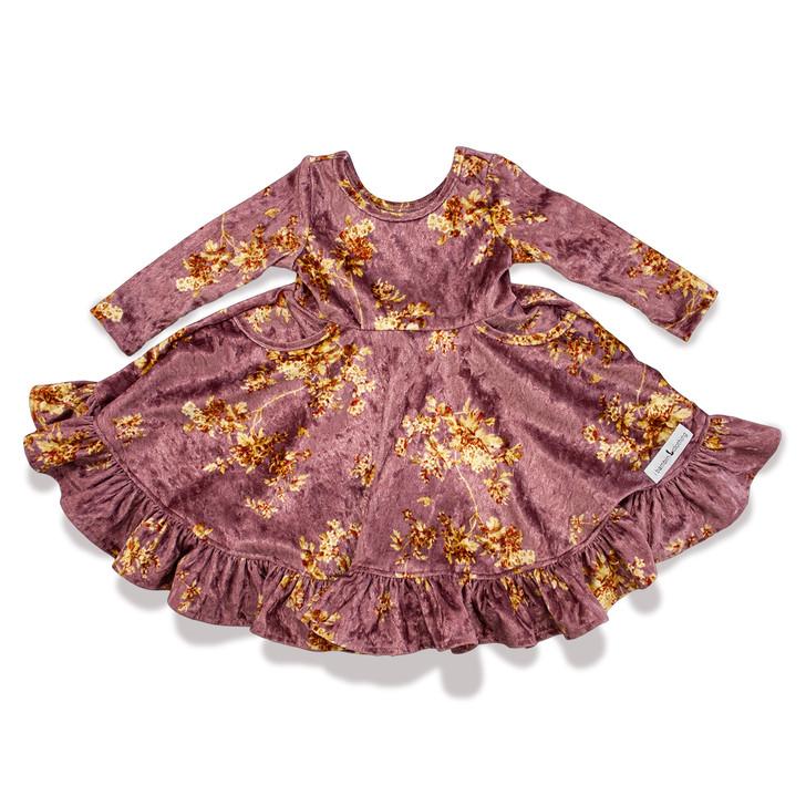 Cordelia Dress - 3/4 Sleeve - Pockets - Full Skirt in Gold Floral Mauve