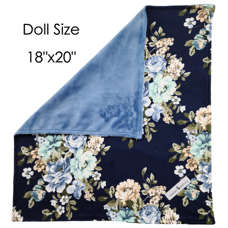 Doll  Blanket: 18x20 Navy Blue Floral + Blue Cuddle