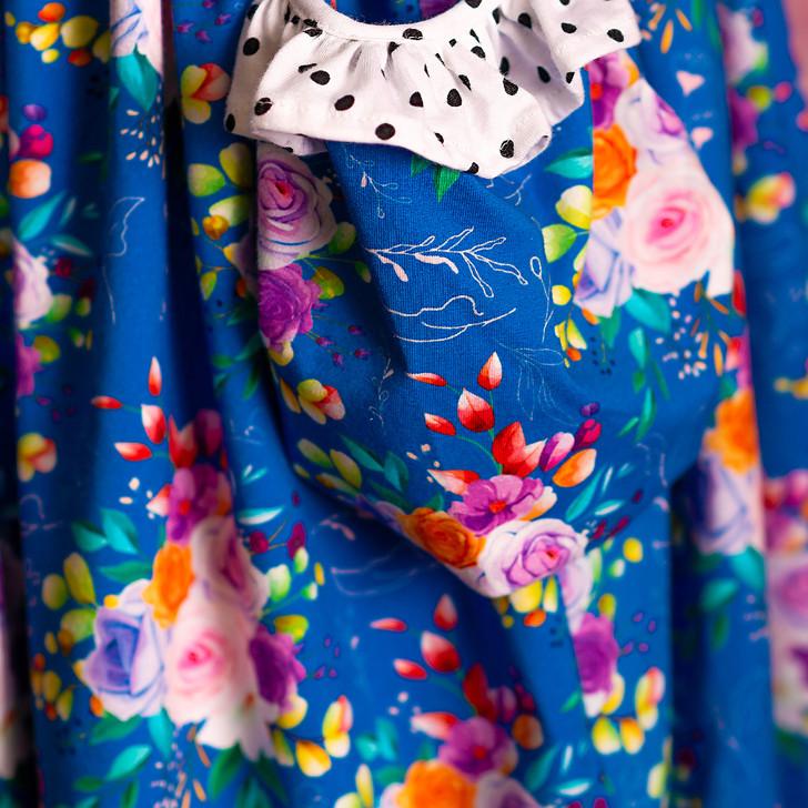 Fabric: Cotton Spandex - Blue Sherbet Floral *Exclusive* - 15 yard limit