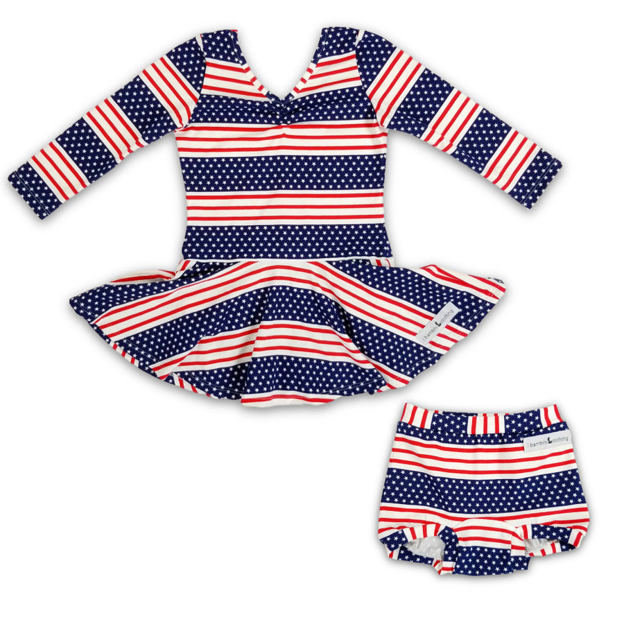 Star Spangled Peplum 3/4 sleeves + Ruched Chest and Bummies Set