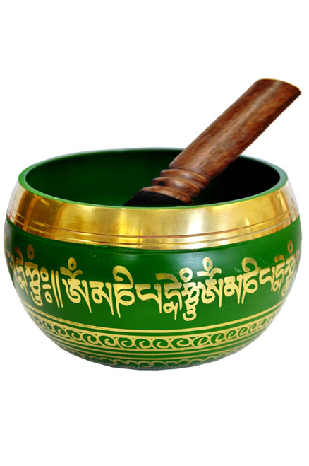 Tibetan Singing Bowl Green 14cm