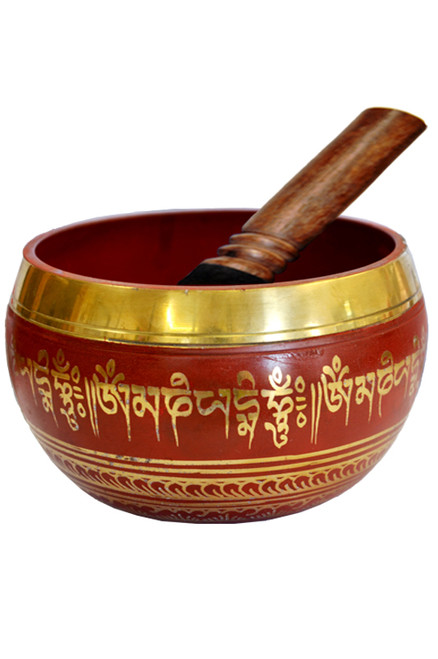 Tibetan Singing Bowl Red 14cm