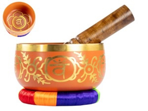 Orange Tibetan Singing Bowl 13 cm