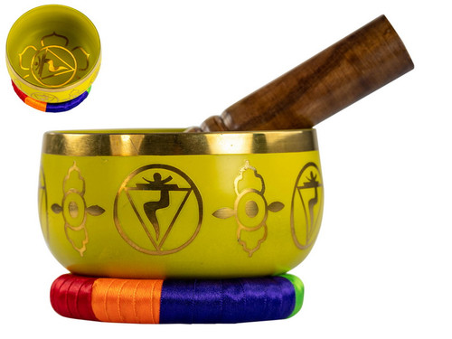 Yellow Tibetan Singing Bowl 13 cm
