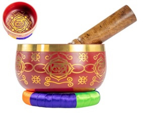 Red Tibetan Singing Bowl 13cm
