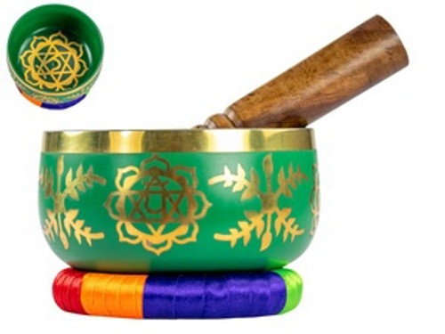 Green Tibetan Singing Bowl 13 cm