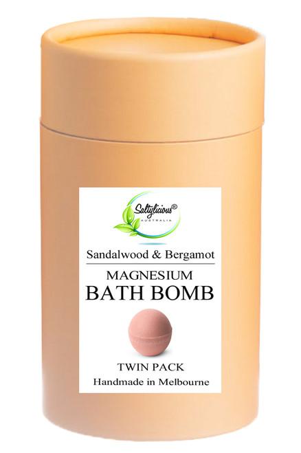 Sandalwood & Bergamot Magnesium Bath Bomb Twin Pack