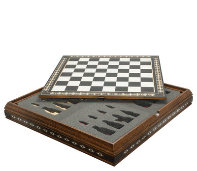 ChessBoard 50cm on Case for Standard Themed Chess sets Black and Eco Mother of Pearl