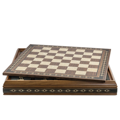 ChessBoard 50cm on Case for Standard Themed Chess sets Walnut & Eco Mother of Pearl