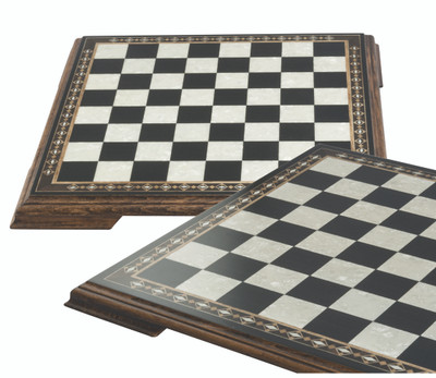 Chessboard with marquetry and legs 50cm Black and Eco Mother of Pearl