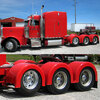Semi Truck Fiberglass Super Single Single Axle Fender Set Painted Red