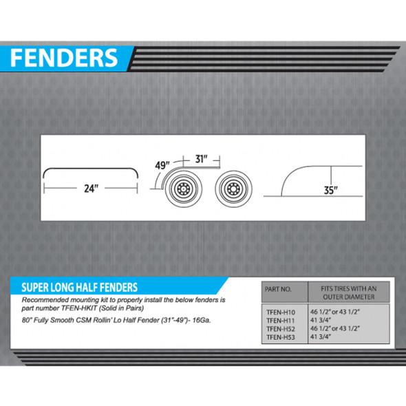 """Stainless Steel 80"""" Half Fenders Dimensions"""