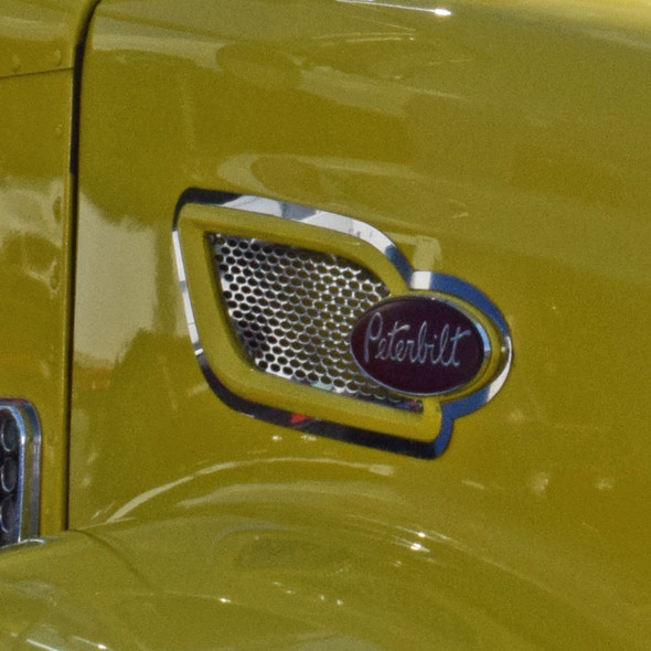 """Peterbilt 384 & 386 Replacement Intake Screen With 1/4"""" Circle Holes On Yellow Truck"""