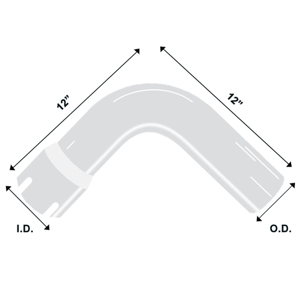 "Chrome Exhaust Elbow Universal 90 Degree 5"" Diameter 12"" Legs Diagram"