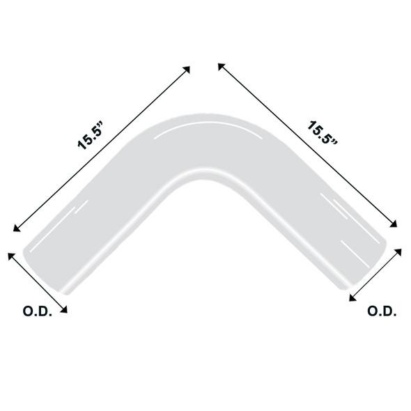 "Chrome Exhaust Elbow Universal 90 Degree 5"" Diameter 15.5"" Diagram"