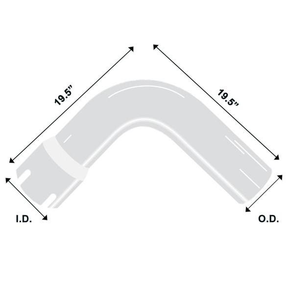 "Chrome Exhaust Elbow Universal 90 Degree 5"" Diameter 19.5"" Diagram"