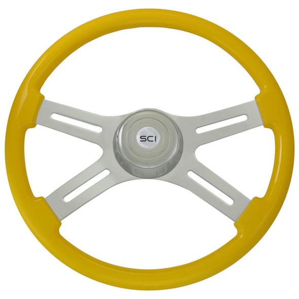 "Classic Yellow 18"" Steering Wheel With Chrome Bezel"