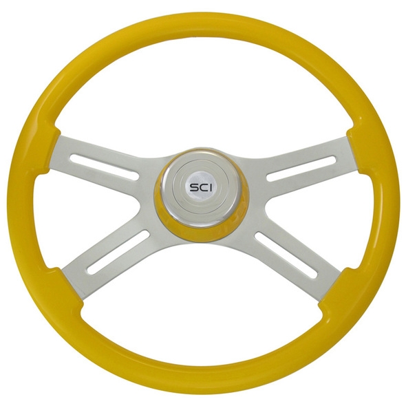 "Classic Yellow 18"" Steering Wheel With Yellow Bezel"