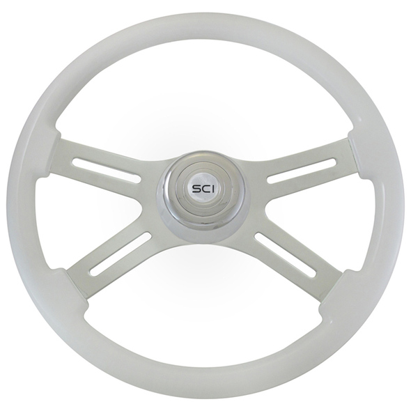 "Classic White 18"" Steering Wheel With White Bezel"