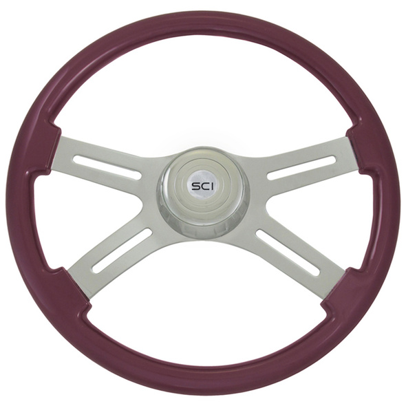 "Classic Purple 18"" Steering Wheel With Chrome Bezel"
