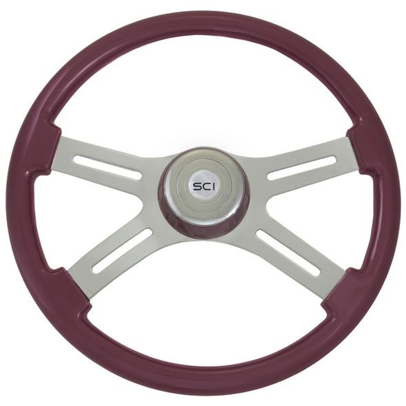 """Classic Purple 18"""" Steering Wheel With Purple Bezel"""
