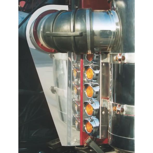 "Peterbilt 359 Front Cleaner Brackets With 2"" Round Flat LEDs & Bezels"