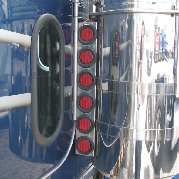 "Peterbilt 379 Rear Air Cleaner Light Bar With 2"" Red LEDs & Bezels"