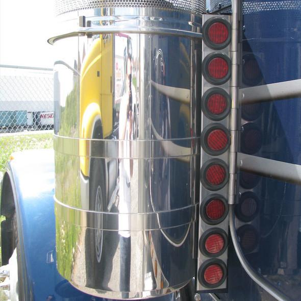 """Peterbilt 379 Rear Air Cleaner Light Bar With 2"""" LEDs & Chrome Bezels"""