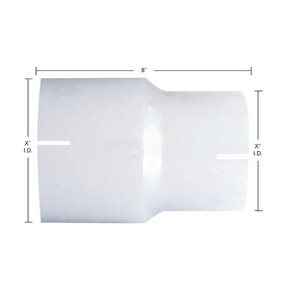 Chrome Exhaust Reducer - I.D. to I.D. - Dimensions