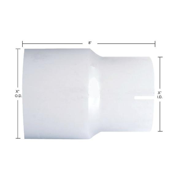Chrome Exhaust Reducer - O.D. to I.D. - Dimensions