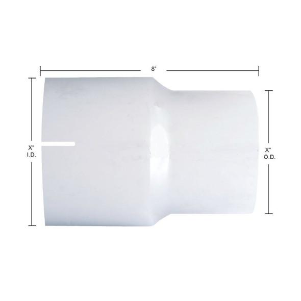 Chrome Exhaust Reducer - I.D. to O.D. - Dimensions