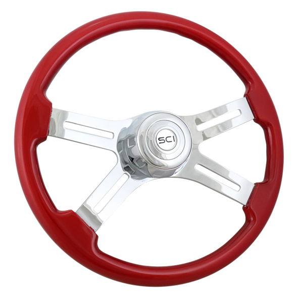 """Classic Red 18"""" Steering Wheel (Angle)"""