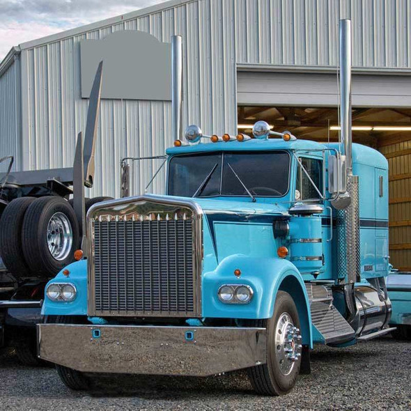 """Kenworth W900A Chrome Bumper 15"""" Tapered Style On Truck"""