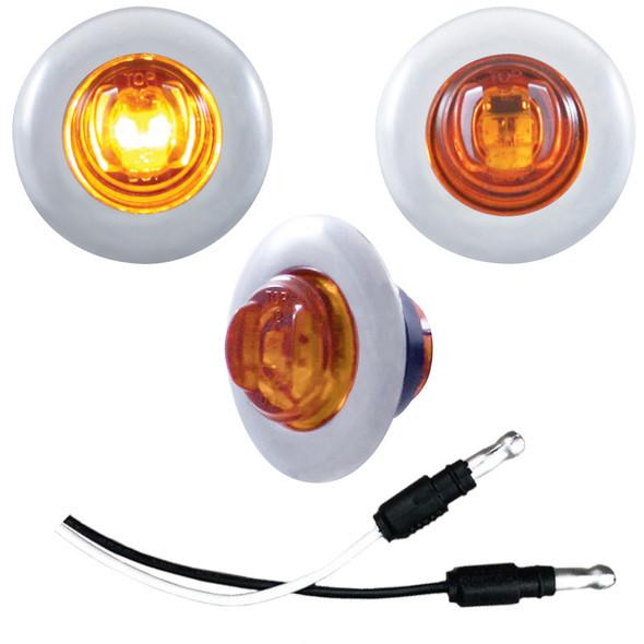 2 LED Mini Clearance Marker Light With Bezel - Amber