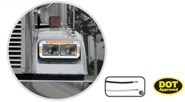 Chrome Rectangular Headlight Bezel With Amber LEDs On Truck
