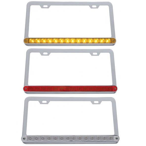 Universal 14 LED Chrome License Plate Frame