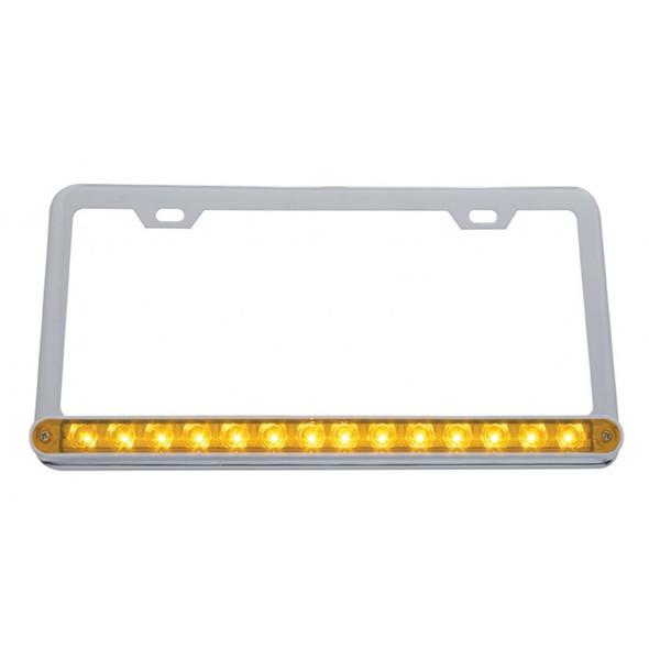 Universal 14 LED Chrome License Plate Frame Amber