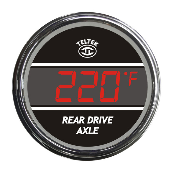 Truck Rear Axle Temperature TelTek Gauge - Red