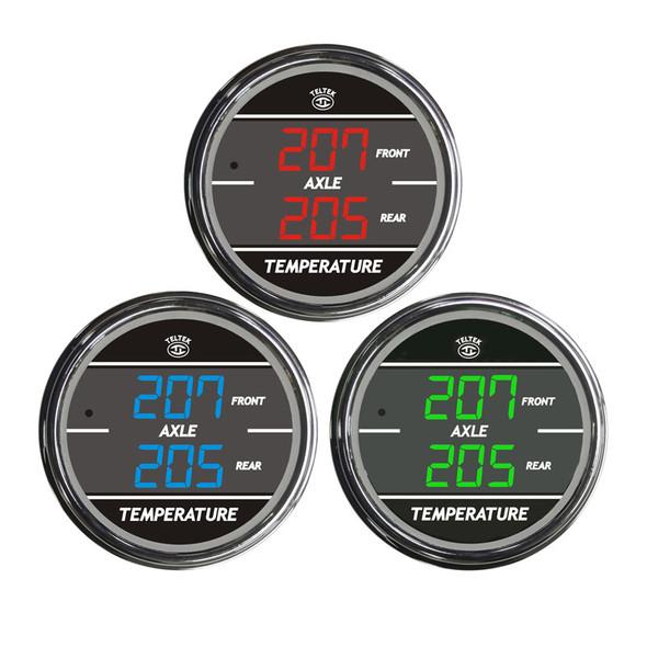 Truck Dual Display Front & Rear Axle Temperature TelTek Gauge Color Display Options