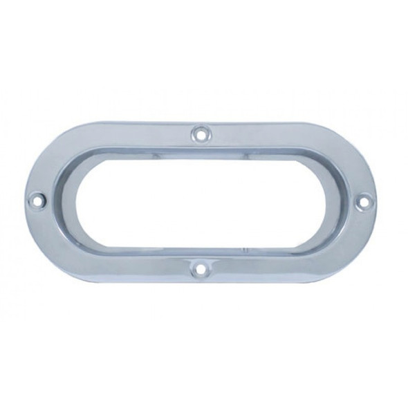 """Stainless 6"""" Oval Mounting Flange-Top View"""