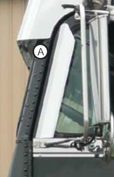 Freightliner Classic FLD FLA Window Air Deflector By Roadworks - Close Up View