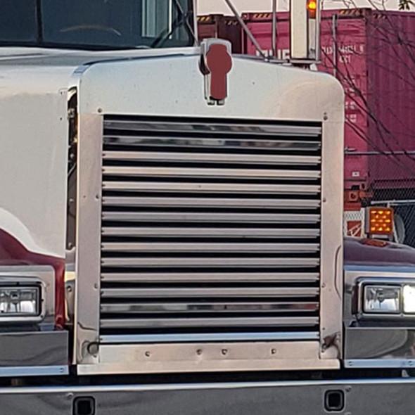 Kenworth W900L Long Hood Grill Horizontal Bars Side View On Truck