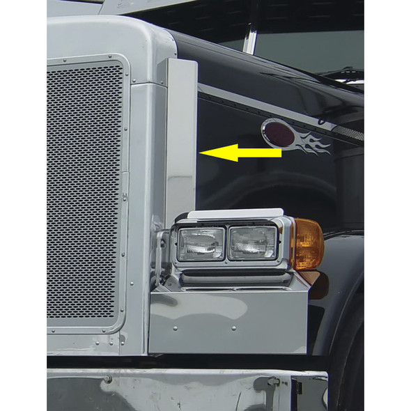 Peterbilt 379 Grill Deflector Stainless Steel With Arrow
