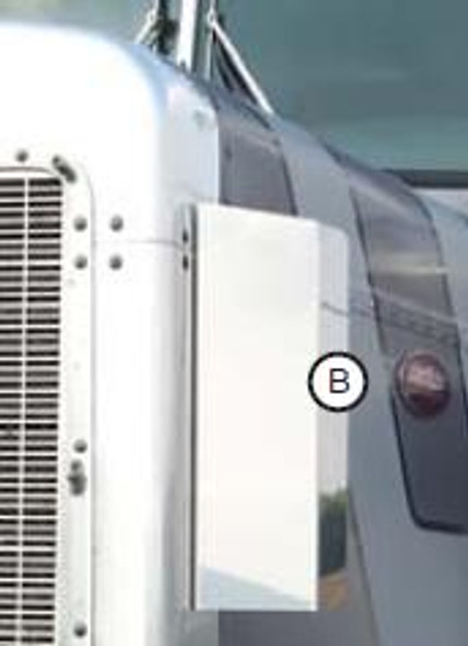 """Peterbilt 359 Side Grill Deflectors With Square Bottom 15.8"""" Tall By RoadWorks"""
