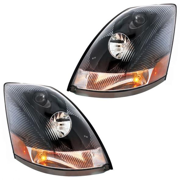 Black Volvo VNL Headlights Lit