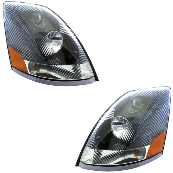Black Volvo VNL Headlights