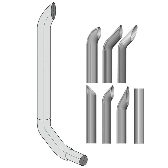 """Kenworth W900 7"""" Lincoln Exhaust Stack Kit"""