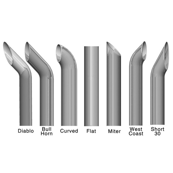 Exhaust Stack Ends Diablo Bull Horn Curved Flat Miter West Coast Sort 30