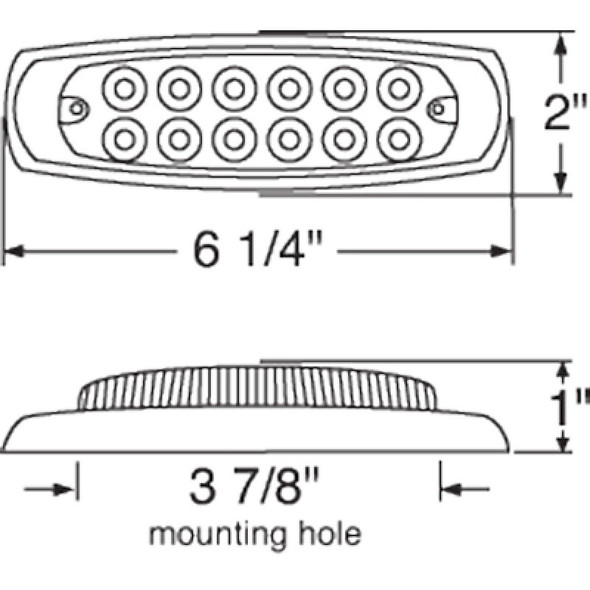 12 LED Reflector Rectangular Clearance Markers-Measurements