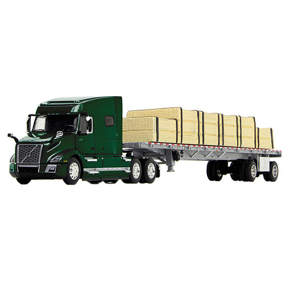 Volvo VNL 740 Mid-Roof Sleeper With Wilson Flatbed Trailer 1/64 Scale